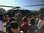 Black Hawk Helicopter and students