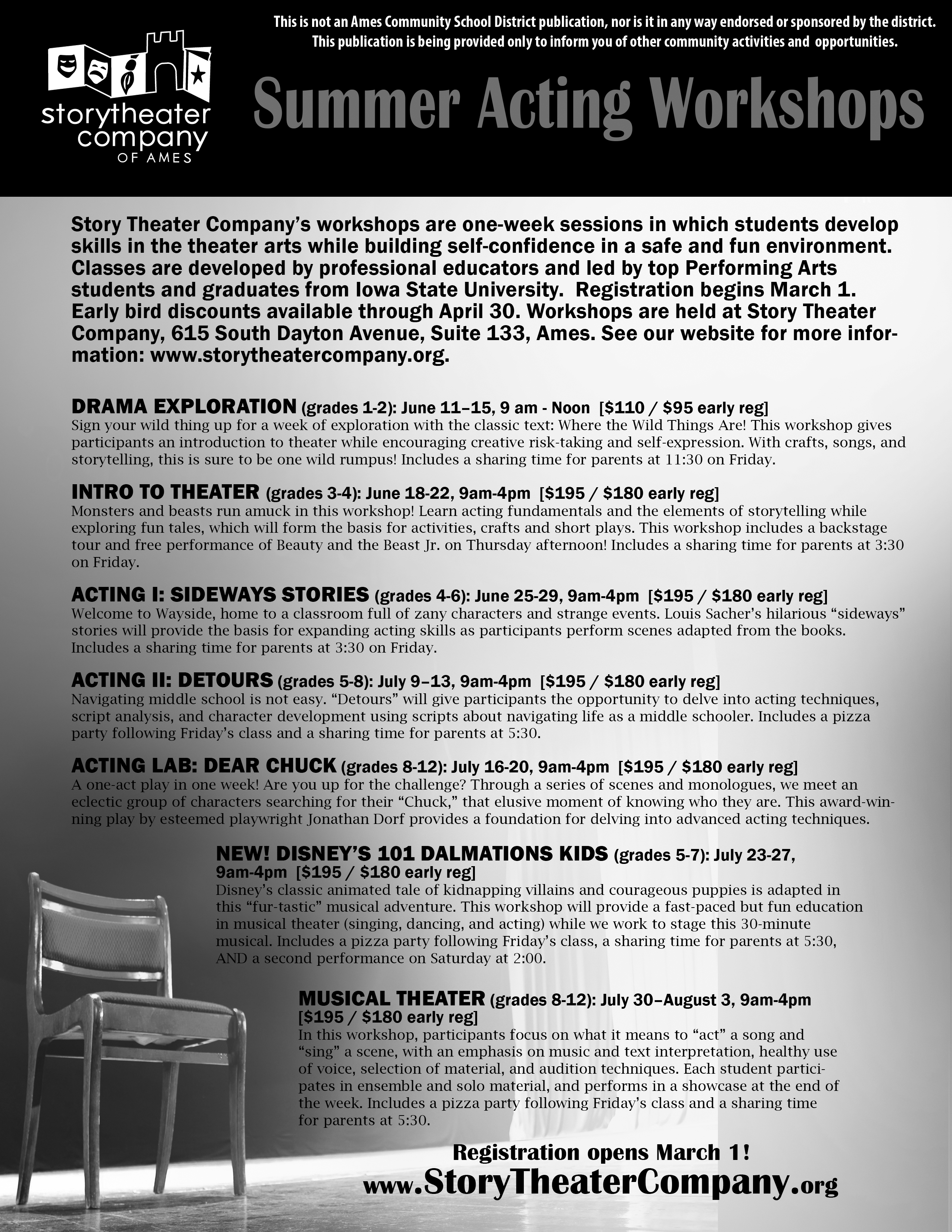 Story Theater Company Summer Workshops - Ames Community School District