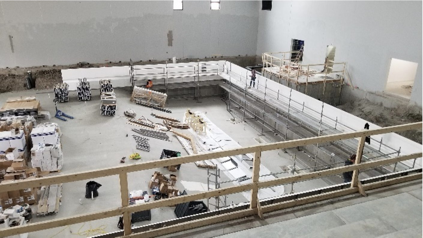 Ames High construction of the pool